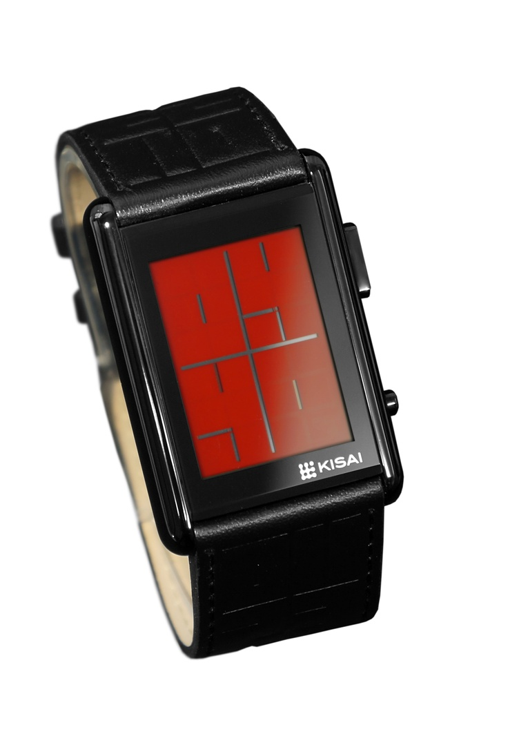 Kisai Stencil from Tokyoflash Japan is an intuitive watch design with a brand new custom designed stainless steel case and leather strap. Visually artistic, the colored LCD display shows the time in negative space, a technique that appears cryptic at first but is actually very simple to read.    With time and date functions, alarm and EL backlight for night time, Kisai Stencil is available exclusively from Tokyoflash Japan. #coolwatches $139