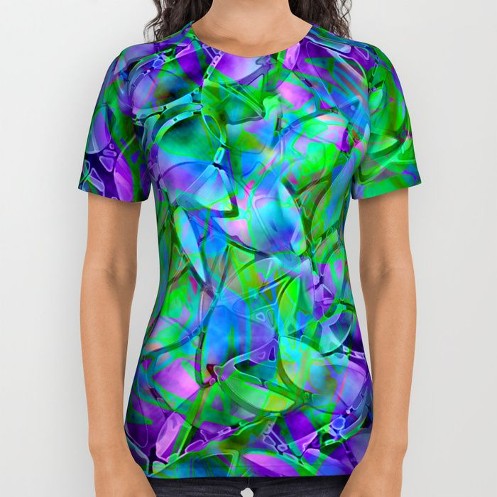 SOLD All Over Print Shirt Floral Abstract Stained Glass G295!  https://society6.com/product/floral-abstract-stained-glass-g295_all-over-print-shirt#57=422 #Society6 #AllOverPrint #Shirt #Floral #Abstract #Stained #Glass #green #purple