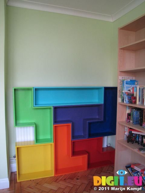 My home made tetris shaped DVD cabinet- this would be cute for a kids room