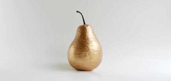 Antiqued Gold Paper Mache Handmade Decorative Pear on Etsy, 売り切れ