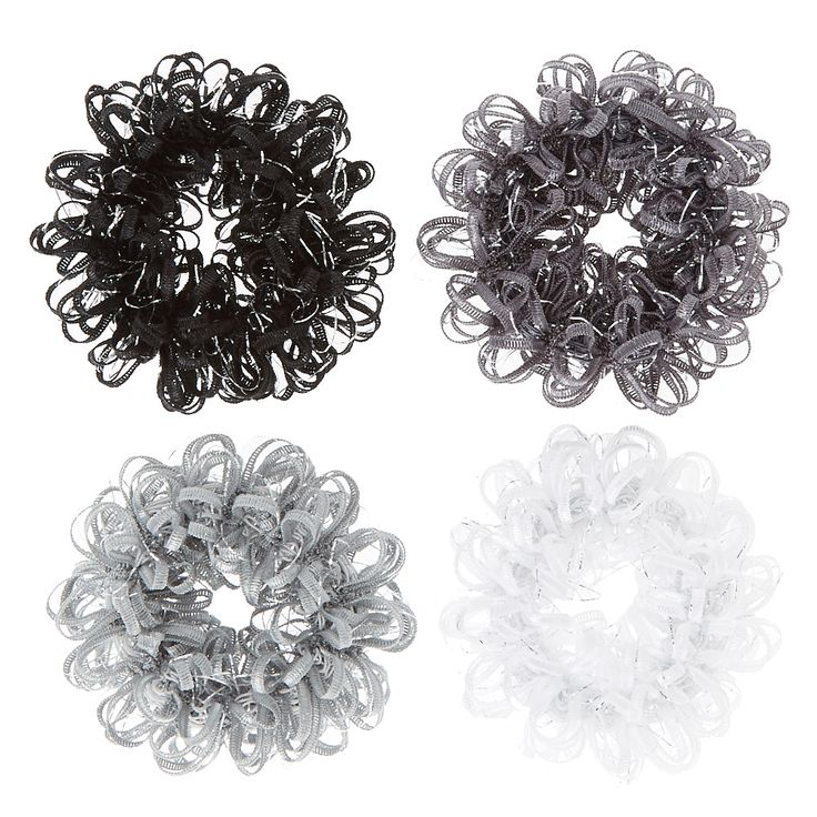 <P>Jazz up your ponytail with this set of darkly colored hair scrunchies. The looped designs accented with silver tinsel add a playful touch to style while still providing a secure and comfortable hold. Includes one of each: black, dark gray, light gray, and white.</P><UL><LI>Set of 4<LI>Looped design<LI>Thick elastic</U> </LI></UL>