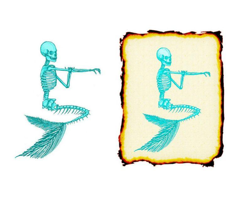 Teal Skeleton Image, Teal Mermaid Skeleton Cutout, Vintage Mermaid Template…