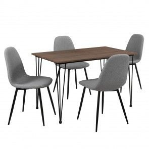 [en.casa]® Mobili sala da pranzo grigio + ottica legno sedia e tavolo 93,50 €