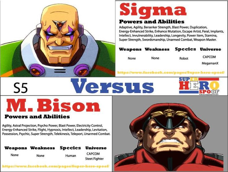 Two villains who are extremely hard to keep down or get rid of, and are some of the most powerful that #CAPCOM has to offer. Who will be the last man or machine standing, when these two dark warriors face off! Bison vs Sigma. Who will win and why? Powers and abilities are posted. #superherospoof