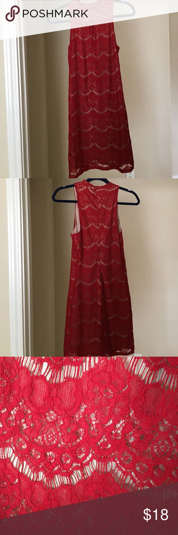 Nordstrom Red Lace Halter Dress Beautiful halter neck with quality lace overlaying a nude slip. I wore this dress just once with black tights to a winter wedding and got tons of compliments! From Nordstrom' love, fire Dresses
