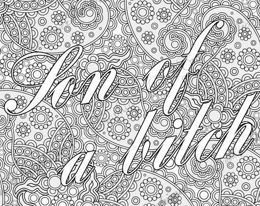 Bullshit Adult Coloring Page The Swearing Words Son Of A Bitch Doodles