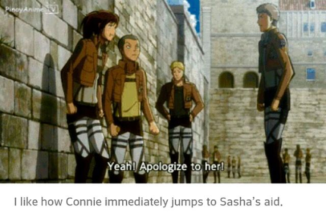Connie immediately coming to help Sasha, mean Jean OVA