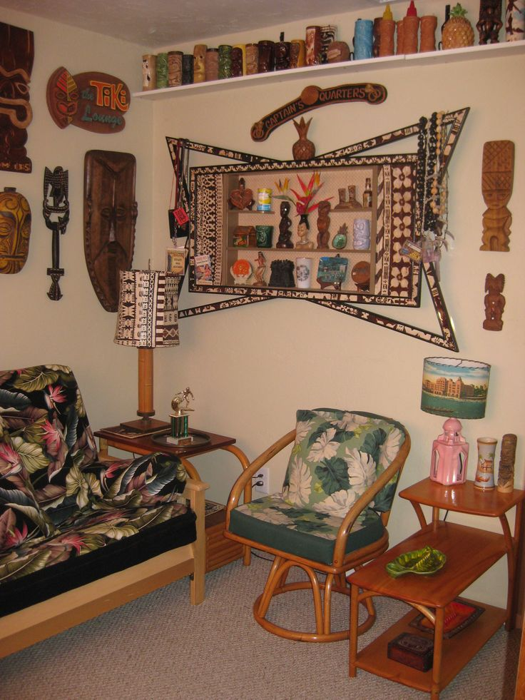 Tiki bar decor at home -- readers photos of their tiki style