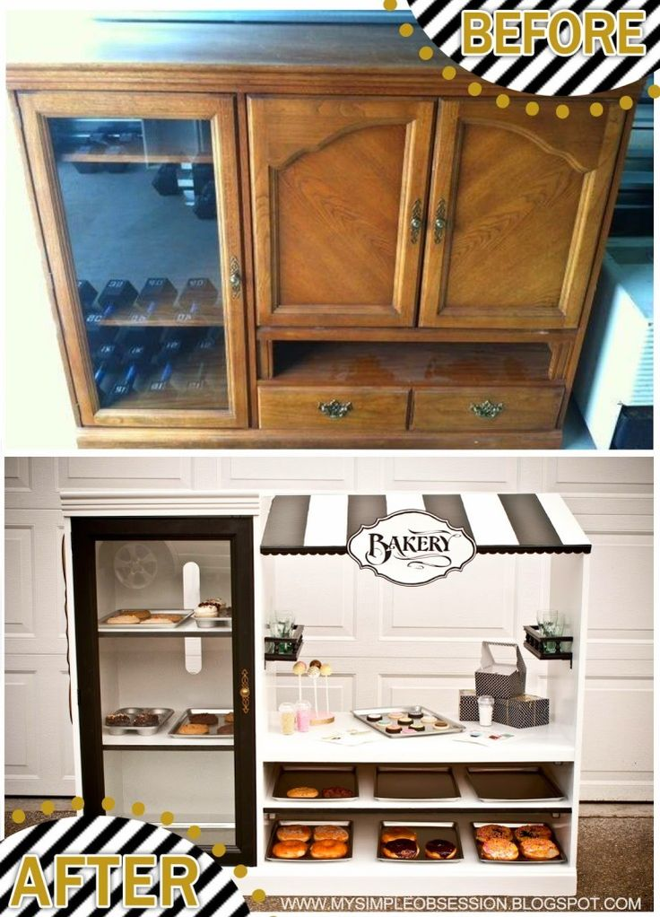 Sweet little spin on the TV cabinet play kitchen