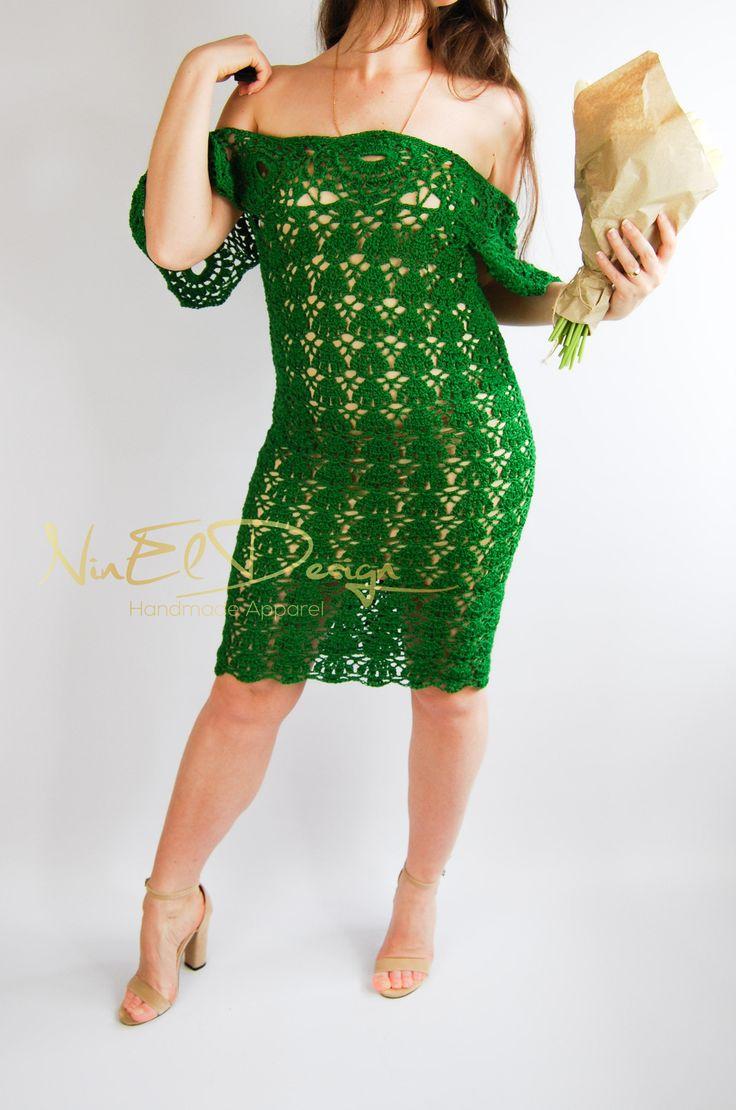 Crochet Dress for women. Wing sleeve dress. Wedding Dress. Open Shoulder Dress. Mermaid Dress. Boho crochet dress. Lace Sexy Dress. Bohemian by NinElDesign on Etsy