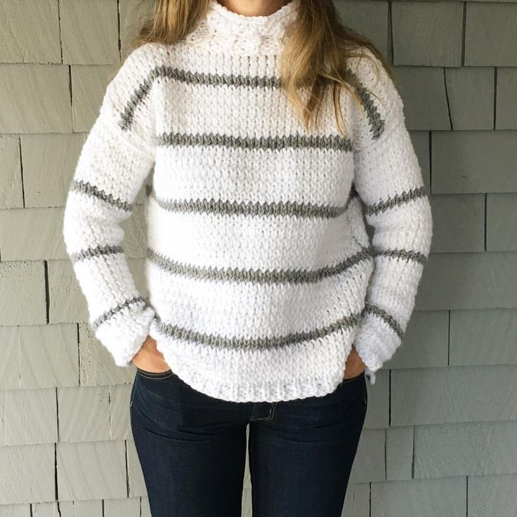 Free knitting pattern.  Knitted sweater using bulky yarn.  Easy beginner knitting pattern.  Bernat softee chunky yarn used.