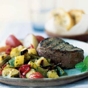 Grilled Tenderloin with Warm Vegetable Salad | MyRecipes.com #myplate #protein #vegetable