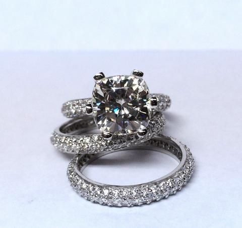 7.30ct Cushion Moissanite Diamond Engagement Ring and Matching bands JEWELFORME BLUE