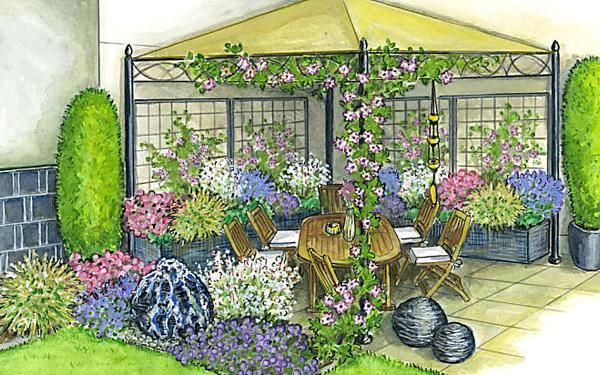 Zum Nachpflanzen Ein Pavillon Fur Geniesser Stauden Gartengestaltung Garten Ideen