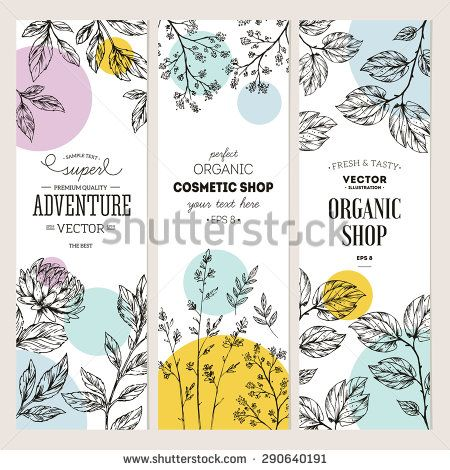 Botanical banner collection. Organic cosmetic. Vector illustration