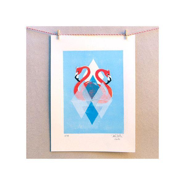Linoldruck - Pink Flamingos (4-farbiger Linolschnitt) - ein Designerstück von Pia-Kolle bei DaWanda