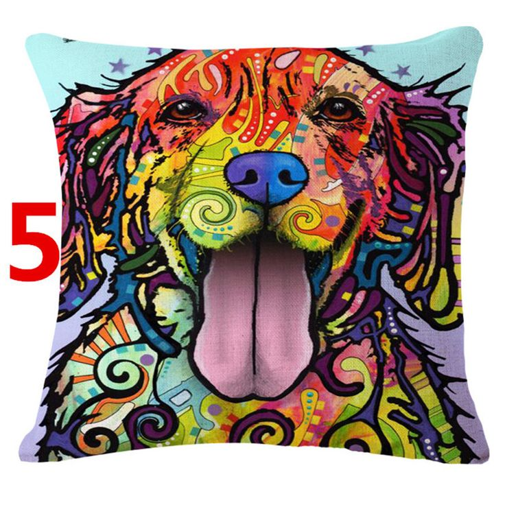 Square 45x45cm Cotton Linen colourful Painted Bulldog Dog One Side Printed cheap Cushion Cover For Home Sofa Pillow Cover ikea