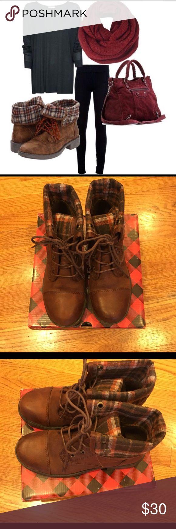 Arizona Yolanda brown combat boots Arizona Yolanda brown combat boots with plaid that folds down  7 1/2 new with box Arazona Shoes Combat & Moto Boots