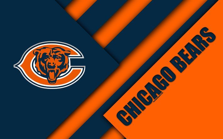 Download Wallpapers Chicago Bears 4k Logo Nfl Orange Blue Abstraction Material Design American Football Chicago Illinois Usa National Football League Chicago Bears Chicago Chicago Bears Logo