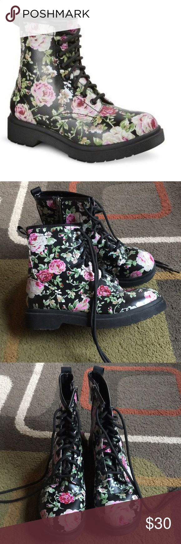 """Mossimo boots Mossimo floral combat boots lace up inside zip 1"""" heel  all man made material Mossimo Supply Co. Shoes Combat & Moto Boots"""