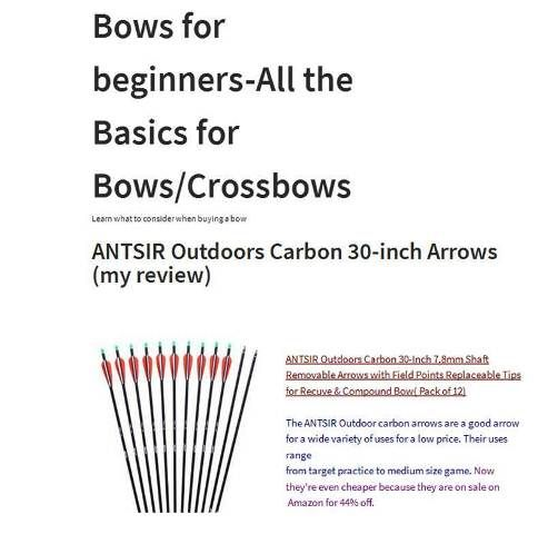"""http://bowsforbeginners.com/index.php/antsir-outdoors-carbon-30-inch-arrows-my-review/ 