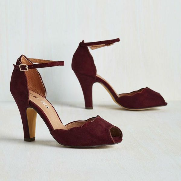 Vegan suede and rich burgundy make these heels the perfect fall pair. Your bridesmaids will thank you for their low heel and chic scallop details. | Fall Bridesmaid Shoes - Scallop Your Alley Heel