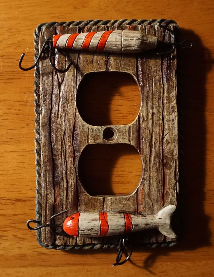 Fishing Tackle Lure Bait Outlet Cover Lodge Fisherman Cabin Home Decor