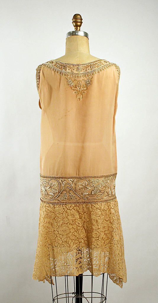 Dress, Dance.  Callot Soeurs  (French, active 1895–1937).  Date: 1926–27. Culture: French. Medium: silk, cotton, metallic thread, glass. Dimensions: Length at CB: 33 3/4 in. (85.7 cm).