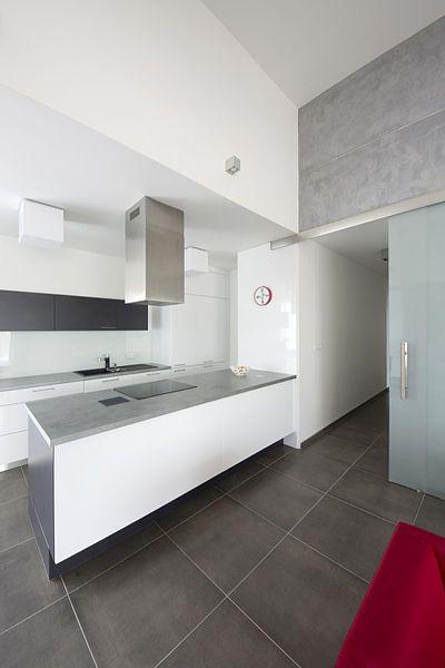 Také kuchyňská linka ctí základní barevný koncept: skříňky z bíle lakovaných MDF desek doplňuje šedá pracovní deska.