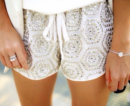 white beaded shorts - LOVE