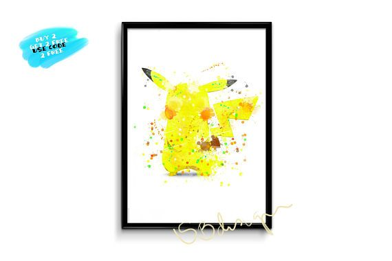Pikachu Watercolor Poster Pokemon Watercolor Print pikachu