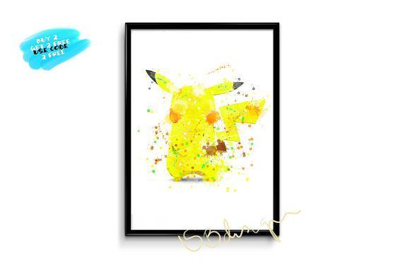Pikachu Watercolor Poster Pokemon Watercolor Print pikachu