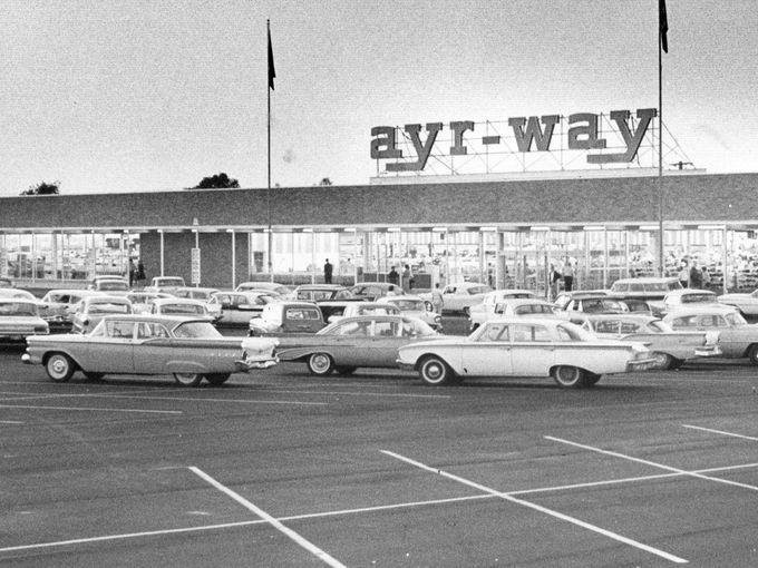 Ayr-Way East, a department store which opened in 1961, was a subsidiary of L.S. Ayres & Co. The store at 38th Street and Shadeland Avenue included a supermarket, snack bar and children's play area. Some of you are probably more interested in the vintage cars in the lot than the store!