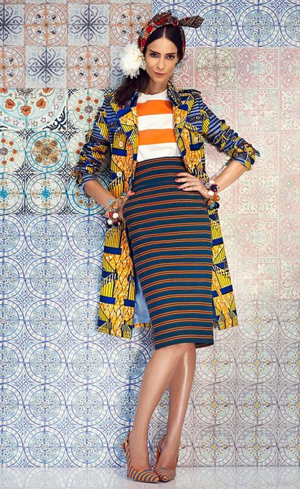 Stella Jean SS 14. Striped pencil skirt, striped top and african print long jacket