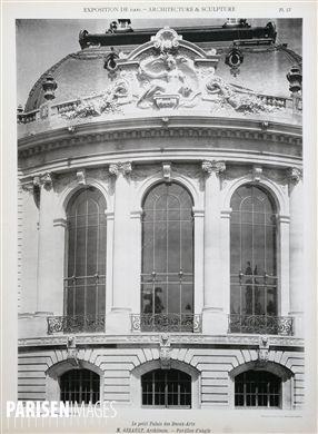 Exposition de 1900 : Architecture et sculpture, le Petit Palais des Beaux-Arts , Armand Guérinet éditeur, Monsieur Girault, architecte : pavillon d'angle, planche XIII. Musée des Beaux-Arts de la Ville de Paris, Petit Palais.