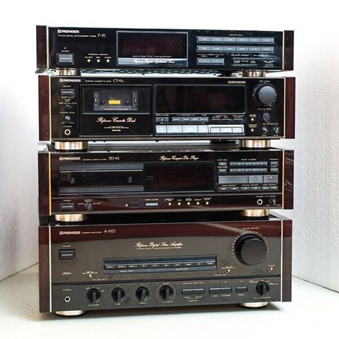 Pioneer A-91D, PD-91, CT-91a, F-91 (standout tuner from 1988)...gold script, rosewood cheeks
