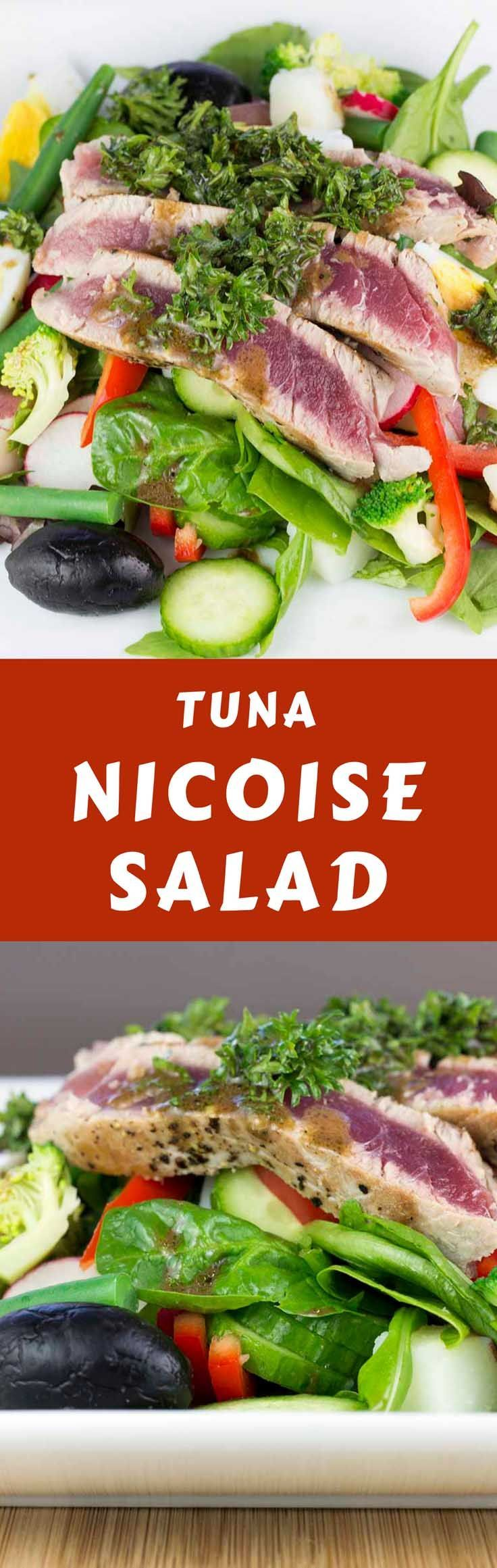 A fresh take on the classic Tuna Nicoise Salad with a slightly spicy parsley and mustard dressing. Super healthy and easy to make. #saladnicoise #lowcarbsalad #ahituna #proteinsalad  via @DiabetesStrong