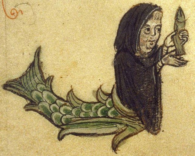 Merman. dressed as monk holds fish, MS Bodley 533, f 26r. Brit. Lib | Flickr - Photo Sharing!