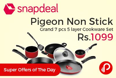 Snapdeal #KitchenFiestaSale brings super offers of the day and offering 69% off on Pigeon Non Stick Grand 7 pcs 5 layer Cookware Set at Rs.1099 Only. Cookware set from Pigeon is heat and scratch resistant.  http://www.paisebachaoindia.com/pigeon-non-stick-grand-7-pcs-5-layer-cookware-set-at-rs-1099-only-snapdeal/