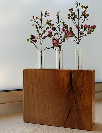 handmade reclaimed wood vase
