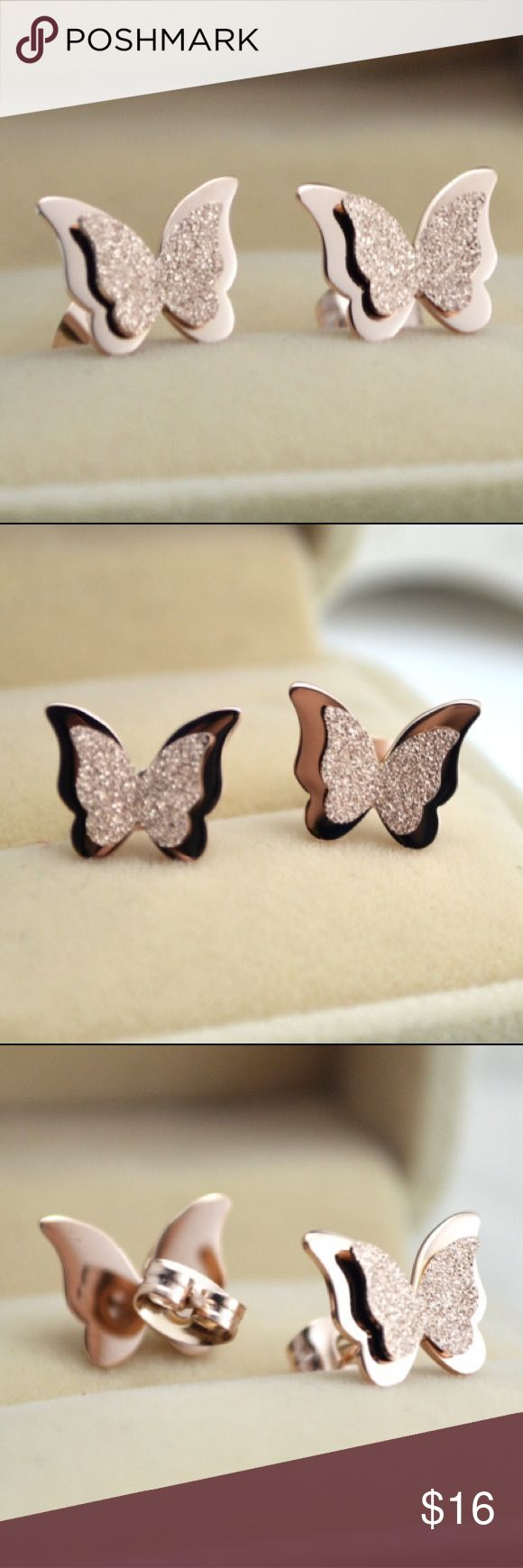 JUST IN  Rosegold Plated Butterfly Earrings JUST IN! Boutique=Brand New                            Material: Rosegold Plated Titanium                           Earrings Only. Box Is Not Included                           ❤Bundle 2+ Items For Discount ❤No Trades Jewelry Earrings