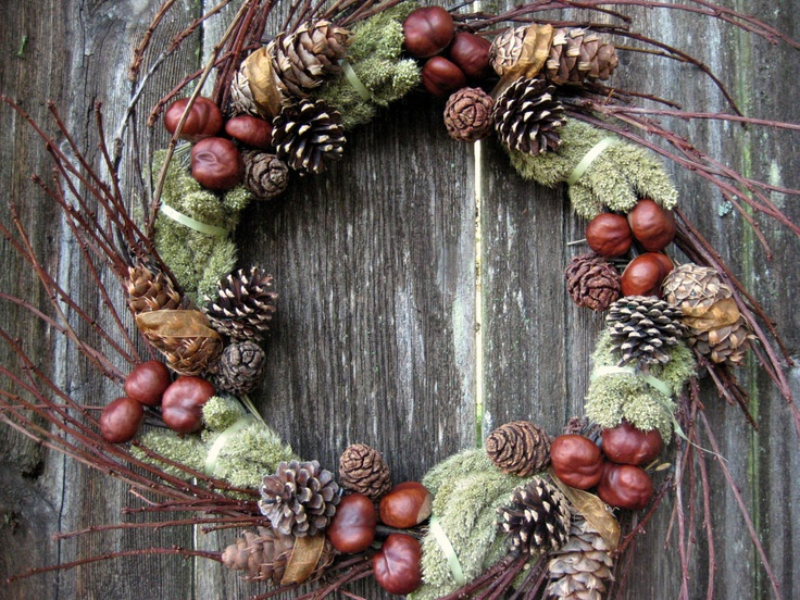 Natural Wreath - Twiggy Green Symphony - with Chestnuts, Evergreen Cones, Cherry Branches & Millet.