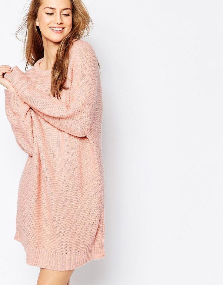 De fedeste ASOS Oversized Jumper Dress In Chunky Knit - Pink ASOS Jumper Kjoler til Damer i fantastisk kvalitet