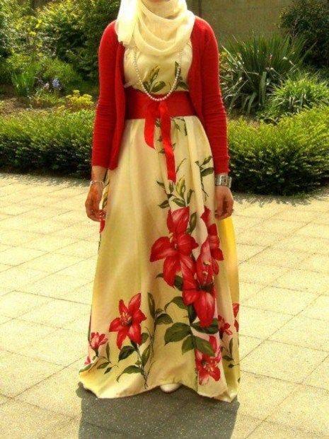 Image result for floral dress hijab fashion