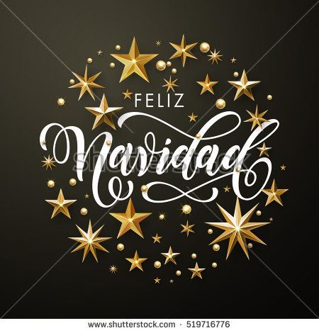 Spanish Merry Christmas greeting card of gold glitter stars. Feliz Navidad vector wreath of stars of golden foil glittering gilding. Round Christmas ornament decorations. Vector calligraphy lettering