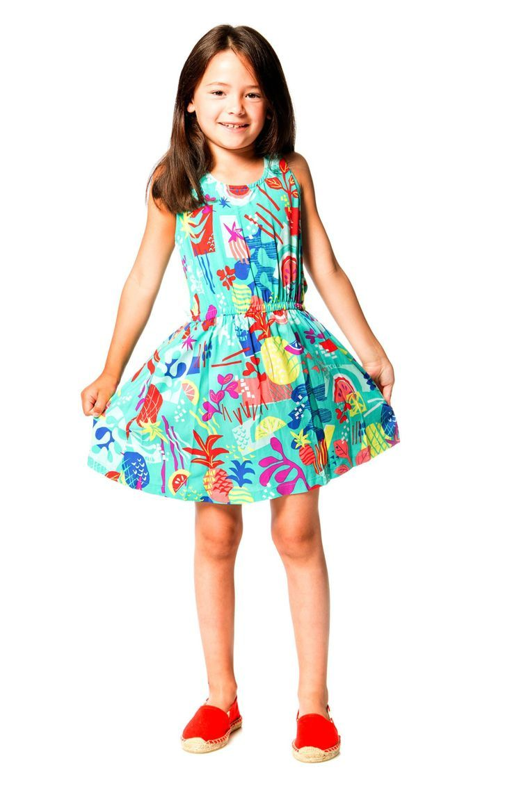 Twisted back straps lend unique distinction to the Cold Press Fashion Printed Viscose Dress. Made from lightweight viscose fabric with a colorful fruit print, this little dress features a sleeveless silhouette with a scoop neckline, a solid jersey back with a small keyhole,  Shop now at deuxpardeux.com #kidsstyle #dress #littlegirl #kidsfashion #littleboy #kidswear Follow our Pinterest page at @deuxpardeuxKIDS