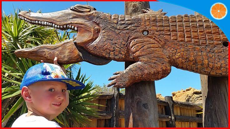 Water Slides, Animal Park, Rancho Texas Park, Lanzerote Blue Orange vide...