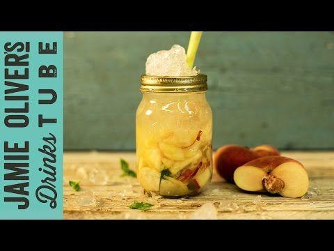 Jamie's Flat Peach Smash (lemon, jasmine honey, flat peach with apple lychee notes, lemon grass, gin, muddled)   Cocktail Request Week - YouTube