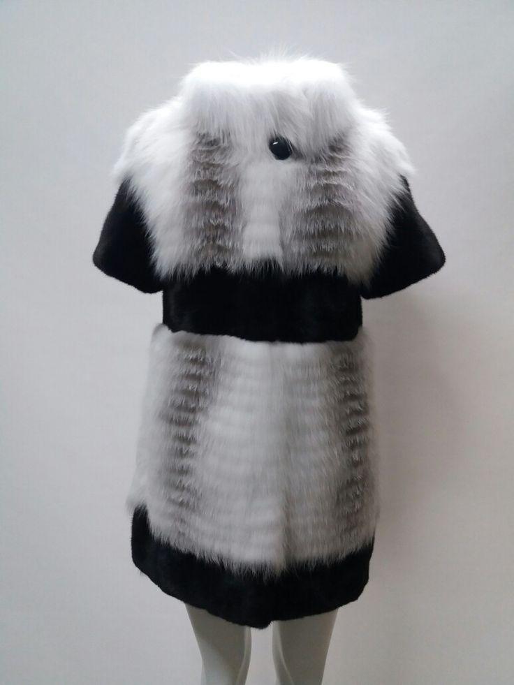 Arctic marble frost fox, with saga furs black mink, long fur vest