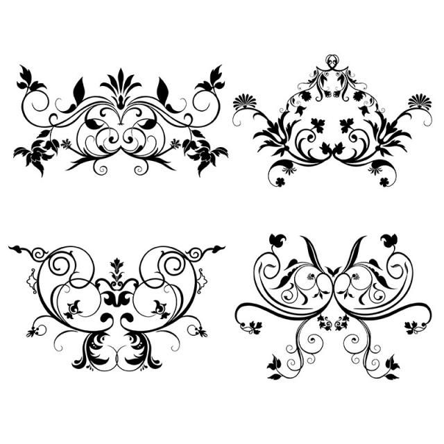 Set Of Floral Elements Collection Floral Card Ornament Png And Vector With Transparent Background For Free Download Vector Flowers Floral Font Illustration